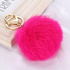 Faux Fur Poof Lucky Rabbit Ball PomPom Keychain