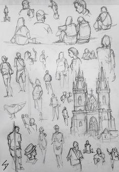 Quick Study Sketch. 'Old Town Square, Prague, 2.' Very quick sketch studies of people enjoying the sights of the Old Town Square, and a sketch based on them. davidasutton.com @davidasutton #drawing #sketch #czech #prague #europe