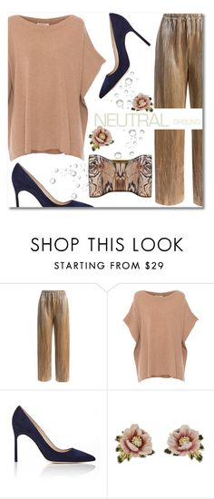 """Neutrals"" by addorajako ❤ liked on Polyvore featuring Sans Souci, Repeat Cashmere, Manolo Blahnik, Les Néréides, Alexander McQueen and neutrals"