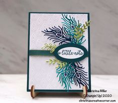 Noble Peacock Thank You card! – Christina's Creative Corner - Royal Peacock - Butterfly Gala - Stampin Up Vintage Birthday Cards, Handmade Birthday Cards, Feather Cards, Happy Birthday Greetings, Birthday Wishes, Stampin Up Catalog, Card Sketches, Scrapbook Sketches, Mothers Day Cards