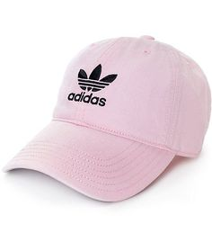 The adidas pink baseball hat for women is the perfect accessory to finish off any casual look. This baseball cap is crafted with a pure cotton construction in a light pink colorway, finished with a curved bill and a black adidas Trefoil logo embroidered a