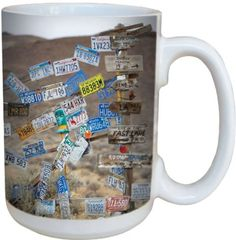 """ Been Everywhere"" Travel, License Plate Themed Collectible Large Ceramic Mug  #TreeFreeGreetings"