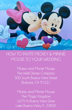 Are you a bride to be or MVP MOH? Here's How To Invite Mickey & Minnie Mouse To Your Wedding! We had tons of extra wedding invitations and no clue what to do with them. Naturally, I heade…