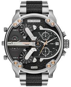 Diesel Men's Mr. Daddy 2.0 Black Leather and Stainless Steel Bracelet Watch 66x57mm DZ7349