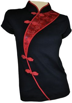 China Black - QiPao - Cheongsam top - - The Amazing Grace Elephant Company stocks a diverse range of Eastern clothing and homewares. Asian Fashion, Look Fashion, Womens Fashion, Fashion Design, Holiday Outfits Women, Batik Fashion, Cheongsam, Costume Design, Blouse Designs
