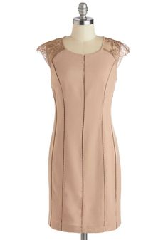 Luxe Allure Dress. Sophistication, thy name is you - especially when this mauve cocktail dress is hugging close to your unique form! #tan #modcloth