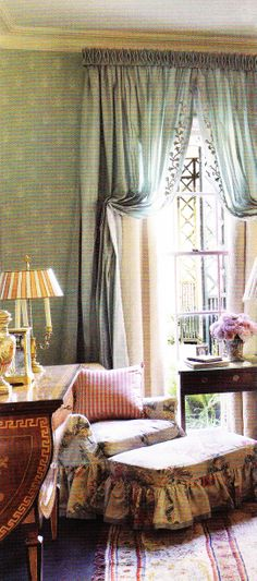 Peaceful English decor - Master Bedroom of a Mississippi home by Richard Keith Langham. AD March 2011