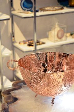14 Ways to Add a Little Bit of Luxury to Your Home I've long been an admirer of Rablabs, and I finally got to see some of their products in person at the show. Pictured above are a couple of their Kiva Platters, and their Espera Bowl in copper. Kitchen Items, Kitchen Gadgets, Rose Gold Kitchen, Copper Kitchen Accents, Copper Decor, Copper Pots, Hammered Copper, Rifle Paper, Kitchen Essentials