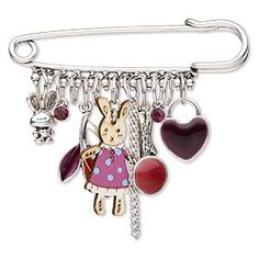 Ideal for over-the-counter sales, this brooch is alive with a cluster of darling dangles including whimsical bunnies, round purple crystals, enameled leaves and more. Leather Jewelry, Wire Jewelry, Jewelry Crafts, Beaded Jewelry, Jewellery, Homemade Necklaces, Kilt Pin, Silver Color, Schmuck