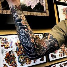 Japanese tattoo sleeve by artemiy_neumoin japaneseink japanesetattoo irezumi tebori colortattoo colorfultattoo cooltattoo Japanese Tattoo Art, Japanese Tattoo Designs, Japanese Sleeve Tattoos, Best Sleeve Tattoos, Tattoo Sleeve Designs, Tattoo Designs Men, Men Tattoo Sleeves, Japanese Art, Japanese Tattoo Sleeve Samurai