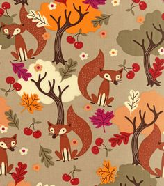 Autumn Inspirations Fabric-Harvest Foxy Forest