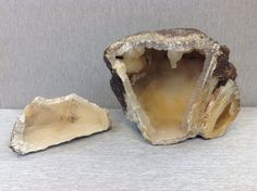 Who says Florida doesn't have any pretty rocks? This coral head geode was found on the Upper Withlacoochee River in North West Florida. Just looking at the unassuming exterior you would never imagine that inside the entire interior is encrusted with quartz crystals. It measures 7 inches x 6 ½ inches. $175
