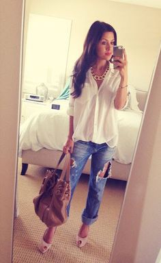 Keep a loose button up with boyfriend jeans adding lots of jewelry & heels to make the look feminine - howtowearbuttonupshirt