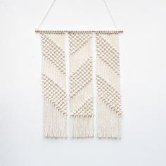 Zig Zag Macrame Wall Hanging by Lekker Project / Modern Fabric Artwork / Interior Decoration Ideas