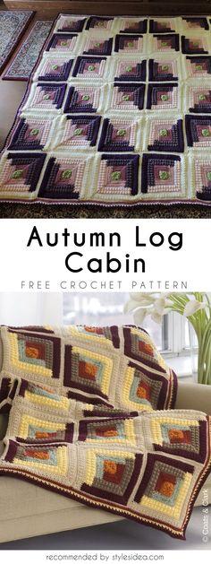 Autumn Log Cabin Crochet Throw Free Pattern #freecrochetPatterns #crochetafghan #freecrochetPatternsforafghan #freecrochetPatternsforblanket #crochetstitch #freecrochetPatternsforthrow