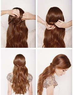 Half Up Half Down Wedding Hairstyle Instructions 1. Start with loose waves in your hair. 2. Backcomb or tease the hair at the crown of your head. 3. Smooth out the top layer. 4. Twist one side of your hair and ***pin it about 2/3 of the way across your head*** (this is the big trick that will allow you to hide your tracks!) 5. Now twist the other side and tuck it under the first part. 6. Again, pin that piece about 2/3 of the way across your head.