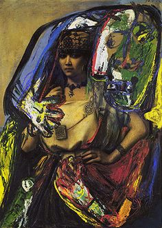 Asger Jorn, Barbar. detourned painting, oil paint on found painting.