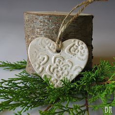 Heart Ornament  Pottery Christmas Ornament  by DragonflyArts, $6.00