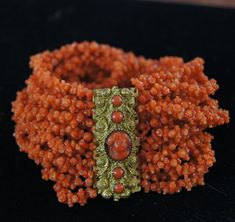 Antique Georgian Carved Coral Bracelet With Antique Coral Cameo Clasp