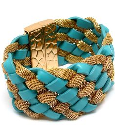 """Allaine Leather and Metal Mesh Braid Bracelet $20 -- Colored leather and metal mesh braided 40mm (1.5"""") wide bracelet with magnetic closure.     Available in Gold/Orange, Gold/Turquoise, Gold/White or Silver/Black."""