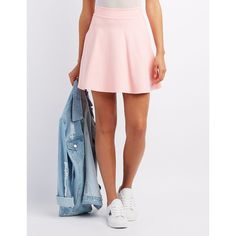 Charlotte Russe Ponte Knit Skater Skirt ($17) ❤ liked on Polyvore featuring skirts, blush, flared skirts, flare skirts, ponte skater skirt, skater skirt and wide skirt