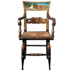 armchair with view of Ithaca Falls; Chairmaker unidentified; decoration probably by R.H. Ranney (dates unknown)  Ithaca, New York  c. 1817–1825  Paint, bronze-powder stenciling, and gold leaf on wood, with rush seat  37 3/4 x 21 x 16 1/2 in.  American Folk Art Museum