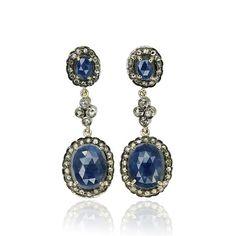 Vintage Schmuck! Second hand jewels jewelry Juwelenschmuck - Umwerfend luxuriös wirken diese Ohrstecker mit zwei ovalen Saphire und Diamant Karmoisierungen.  Der ovale Saphir wird vo...