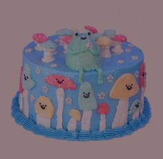 Pretty Birthday Cakes, Pretty Cakes, Bolo Neon, Pastel Cakes, Frog Cakes, Cute Desserts, Just Cakes, Little Cakes, Sweet Cakes
