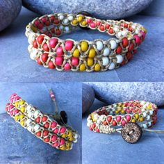 Macrame Beaded Bracelet Double Wrap Bracelet by LilPumpkinBeads