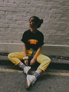 problem child tee and yellow jeans #tylerthecreator #thrifted #style #checkeredsocks