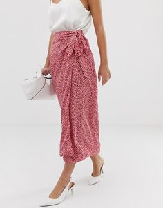 a5c008210d Fashion Union Petite | Fashion Union Petite tie waist midi skirt in spot