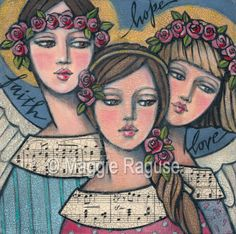 FAITH Hope LOVE mounted PRINT of folk art angel painting by Maggie Raguse