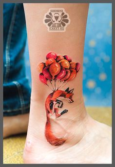 Fox Flying With Balloons Tattoo On Ankle