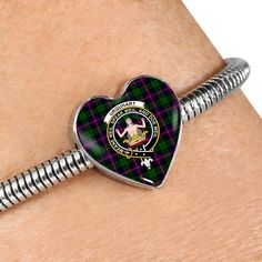 MacDonald Tartan Crest Heart Bracelet – Your Tartan Macdonald Tartan, Scottish Tartans, Working Mother, Everyday Items, Heart Bracelet, Bangles, Bracelets, Heart Charm, 18k Gold