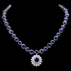 14k Gold 87ct Sapphire 2.50ct Diamond Necklace  This elegant ladies necklace is crafted in solid 14k White Gold and features 82 (87.00 ctw) Natural Sapphires mined from Sri Lanka + accented with 47 sparkling eye-clean natural diamonds, totaling 2.50 carats. Excellent craftsmanship. Made in USA.    Retail: $44,500.00