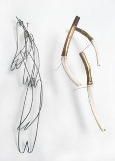 Alissa Lamarre (Cranbrook Academy)   Installation View of Untitled, Stockings, 11/2011, Steel, Bone, Shibuichi