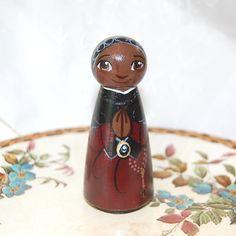 Saint Josephine Bakhita Catholic Saint Doll - Wooden Toy - Made to Order
