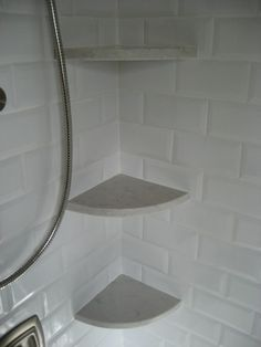 Silestone Lagoon Quartz Shower Corner Shelves With Beveled White Subway Tile