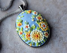 Lovely Polymer Clay Applique Statement Pendant Necklace