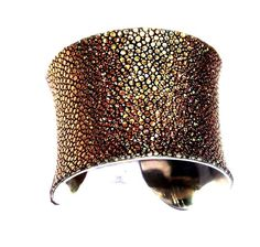 Metallic Gold Stingray Leather Cuff Bracelet  by by UNEARTHED, $85.00