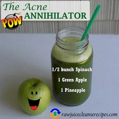 The Acne Annihilator Juice Recipe – This juice recipe uses vegetables and fruits that are known to help with acne. It also happens to taste very good! Check out the page for more juicing for acne info. 🙂 The Acne Annihilator Juice Re Raw Juice Cleanse, Detox Diet Drinks, Juice Cleanse Recipes, Healthy Juice Recipes, Healthy Juices, Healthy Drinks, Smoothie Recipes, Detox Juices, Juicer Recipes