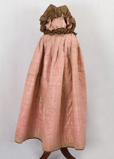 Girl's silk cloak, c.1790-1820. Brown silk with pink glazed cotton. Vintage Textiles $1,850