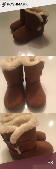 Baby boots Brown faux fur lined boots with bronze heart buckle on sides. Like new, only worn a couple times by a non walker. Garanimals Shoes Boots