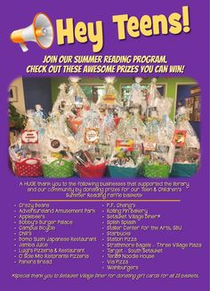 Teens, did you see all of the awesome raffle baskets for Summer Reading??? Registration forms and raffle tickets can be found at teen.emmaclark.org.
