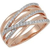 14kt rose gold multirow with pave' diamonds