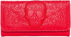 LOUNGEFLY RED ON RED LATTICE SKULL WALLET Make a bold statement with the Red on Red Skull Lattice Wallet from Loungefly. This bright red wallet features intricate skull and lattice details, is vegan friendly, and has a magnetic snap closure with enough room inside for all of your cash and cards. What's not to love? $32.00