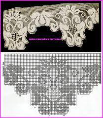 Risultati immagini per miria croches e pinturas Filet Crochet, Crochet Lace Edging, Crochet Borders, Crochet Diagram, Crochet Chart, Thread Crochet, Crochet Doilies, Knit Crochet, Crochet Curtain Pattern