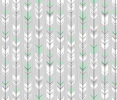 Retro Mint Gray Arrows fabric by annaliesbabyboutique on Spoonflower - custom fabric