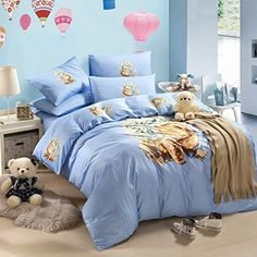 Lovely Puppy Blue Bedding Duvet Cover Set Cartoon Bedding Kids Bedding Girls Bedding Teen Bedding Gift Idea Full Size -- Click on the image for additional details.