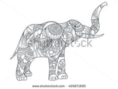 Vector monochrome hand drawn zentagle illustration of an elephant. Coloring page with high details isolated on white background. Boho style. Vector of Elephant in zentangle style
